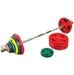 Body Solid Colored 500lbs Rubber Grip Olympic Set with Chrome Bar