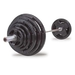 Body Solid 300 lb Rubber Grip Olympic Set With Chrome Bar