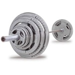Body Solid 300 lb Cast Iron Grip Olympic Set With Chrome Bar