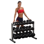 Body Solid 5-50 lb. Rubber Hex Dumbbell Set with Rack
