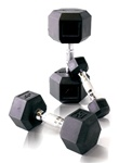 CAP Rubber Coated Hex Dumbbell Set - 5-50 Lb