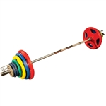 Body Solid Colored 300lbs Rubber Grip Olympic Set with Chrome Bar