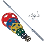 Body Solid Colored 400lbs Rubber Grip Olympic Set with Chrome Bar