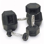 Body Solid - Rubber Coated Iron Hex Dumbbell Set - 5-100 Lb Set