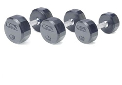 Troy Barbell 12 Sided Solid Rubber Dumbbell Set - 5-100 Lb Set