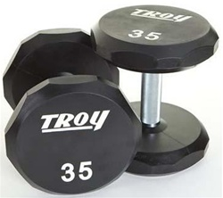 Troy Barbell 12 Sided Solid Urethane Dumbbell Set - 105-125 Lb Set