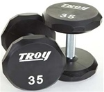 Troy Barbell 12 Sided Solid Urethane Dumbbell Set - 55-100 Lb Set