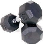 Troy Barbell VTX 8 Sided Rubber Dumbbell Set - 55-100 Lb Set