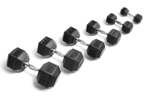 york weights. york rubber hex dumbbells set - 5-50 lb weights